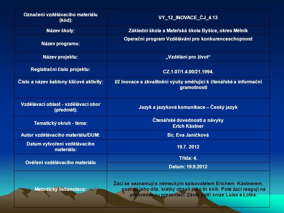 Označení vzdělávacího materiálu (kód): VY_12_INOVACE_ČJ_4.13