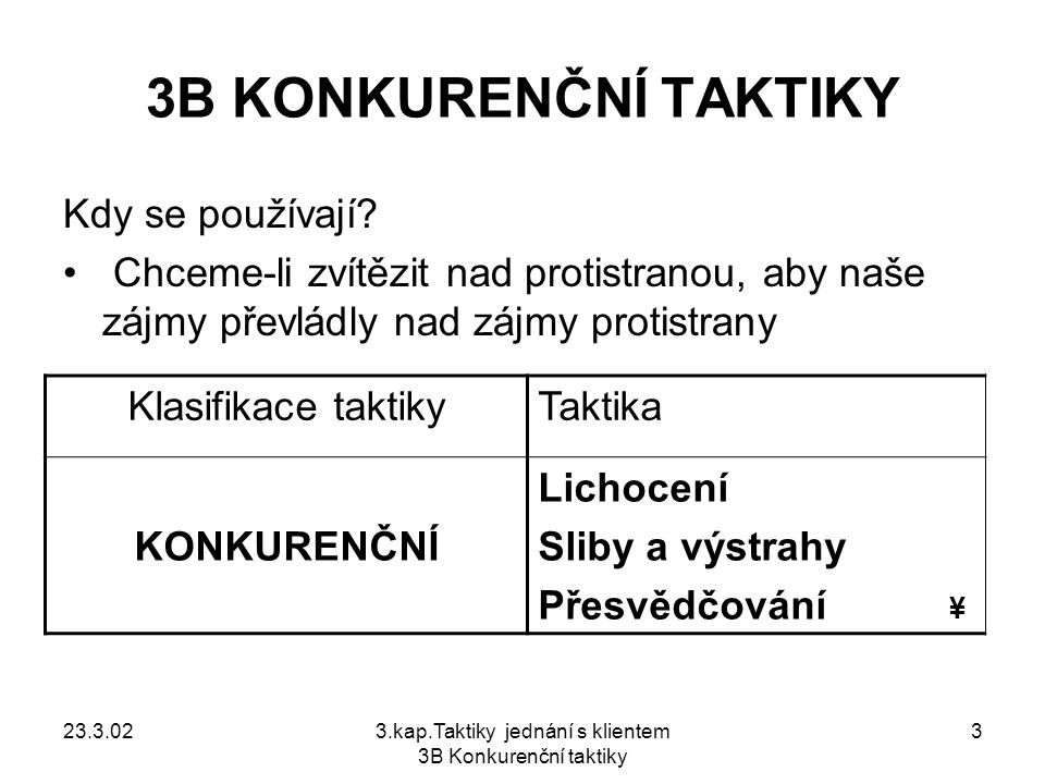 3.kap.Taktiky jednání s klientem 3B Konkurenční taktiky