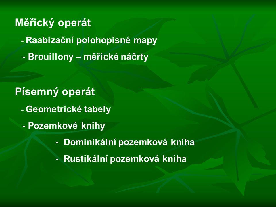Měřický operát Písemný operát - Brouillony – měřické náčrty