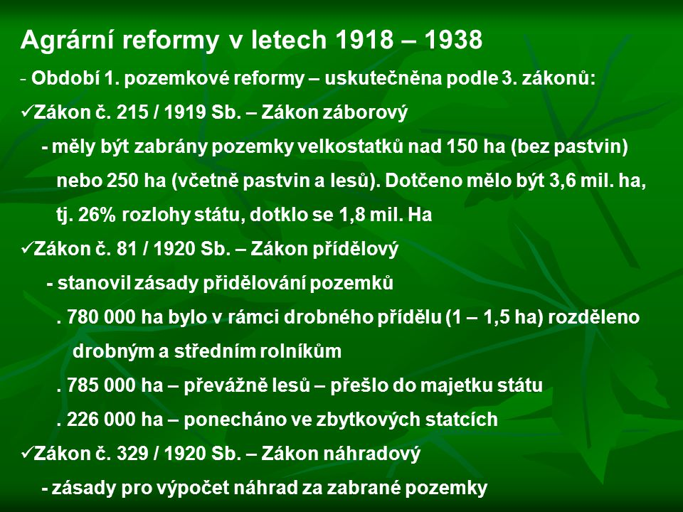 Agrární reformy v letech 1918 – 1938