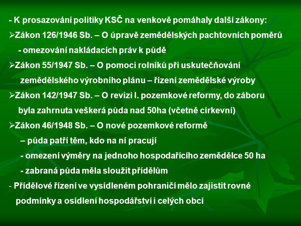 - K prosazování politiky KSČ na venkově pomáhaly další zákony:
