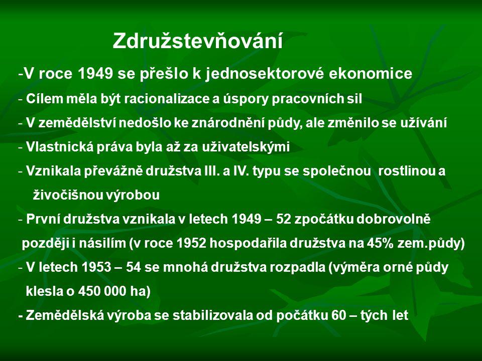 Združstevňování V roce 1949 se přešlo k jednosektorové ekonomice