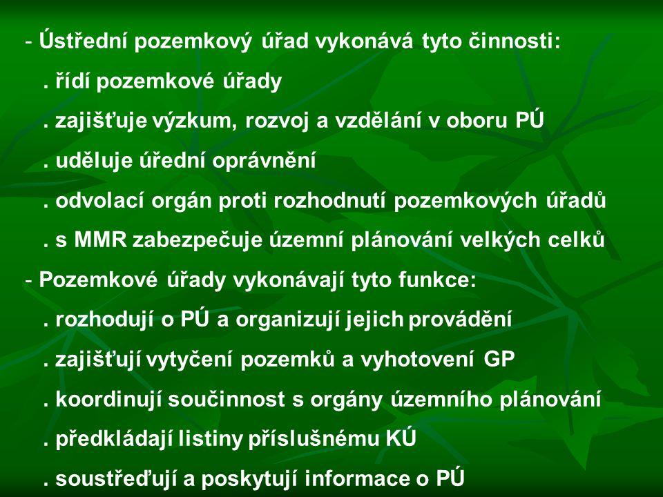 Ústřední pozemkový úřad vykonává tyto činnosti: