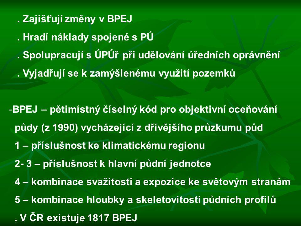 . Zajišťují změny v BPEJ . Hradí náklady spojené s PÚ. . Spolupracují s ÚPÚř při udělování úředních oprávnění.