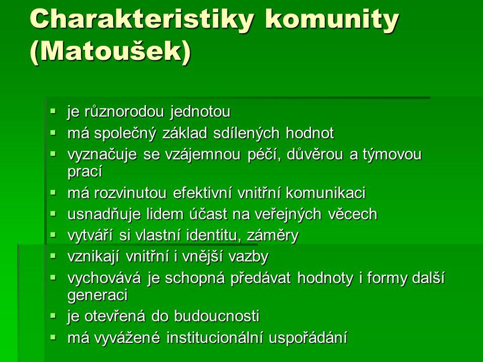 Charakteristiky komunity (Matoušek)