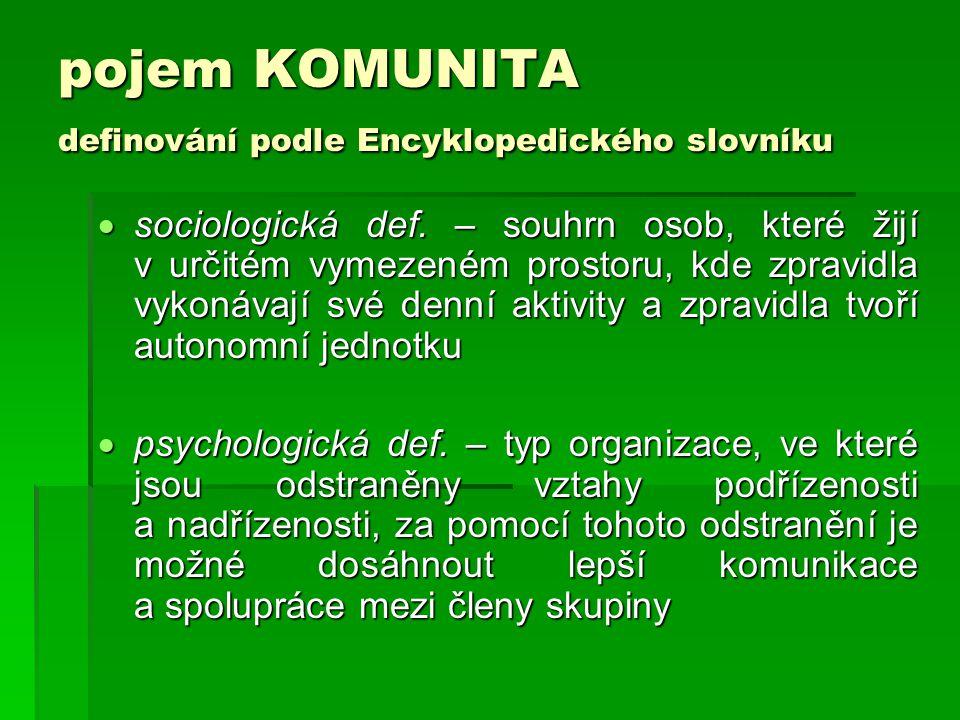 pojem KOMUNITA definování podle Encyklopedického slovníku
