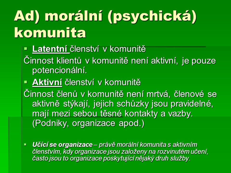 Ad) morální (psychická) komunita