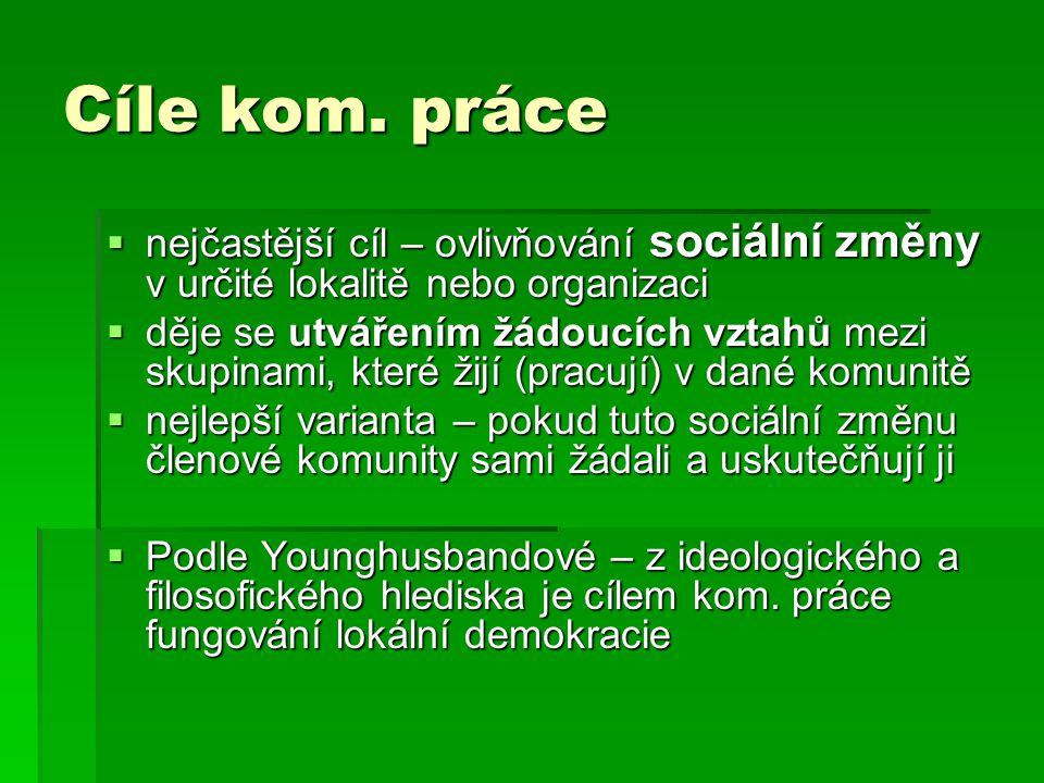 Cíle kom. práce nejčastější cíl – ovlivňování sociální změny v určité lokalitě nebo organizaci.