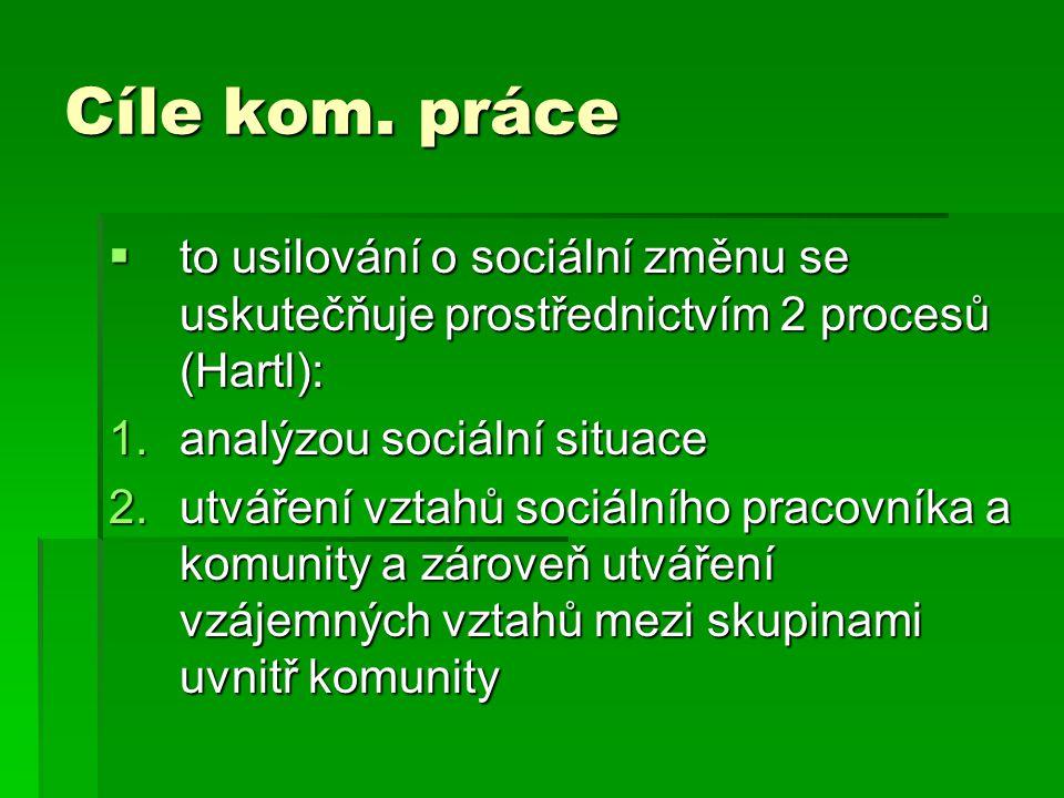Cíle kom. práce to usilování o sociální změnu se uskutečňuje prostřednictvím 2 procesů (Hartl): analýzou sociální situace.