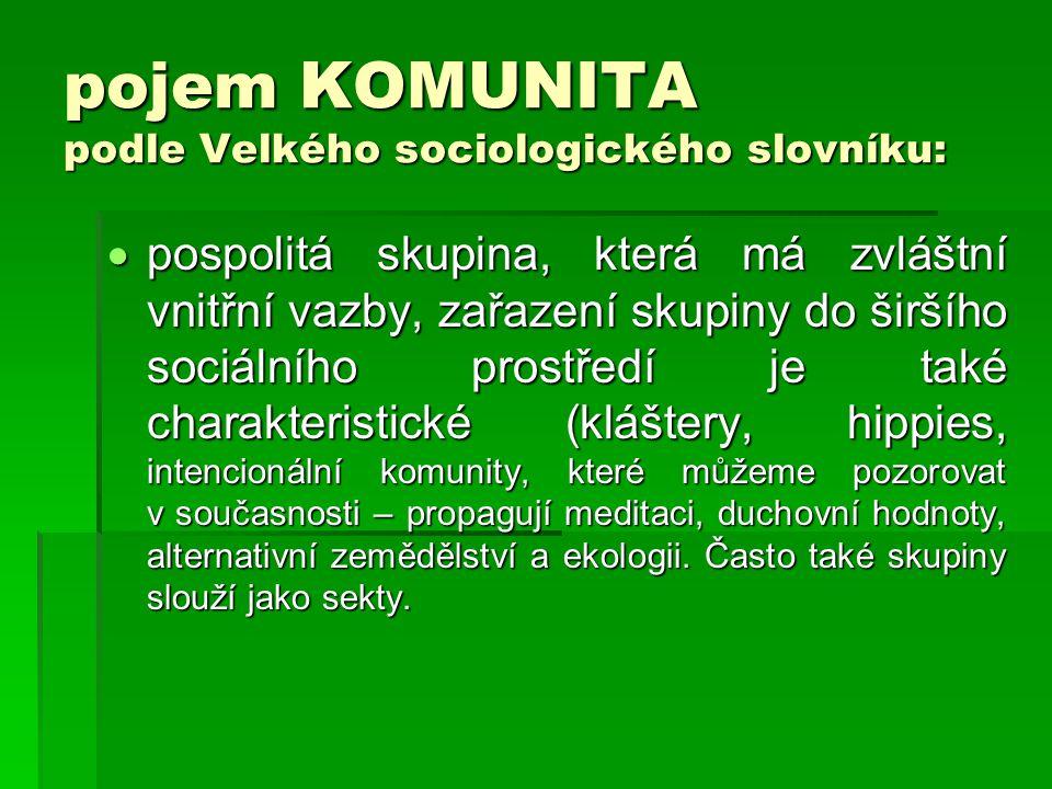 pojem KOMUNITA podle Velkého sociologického slovníku: