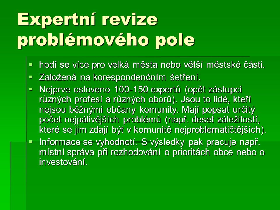 Expertní revize problémového pole