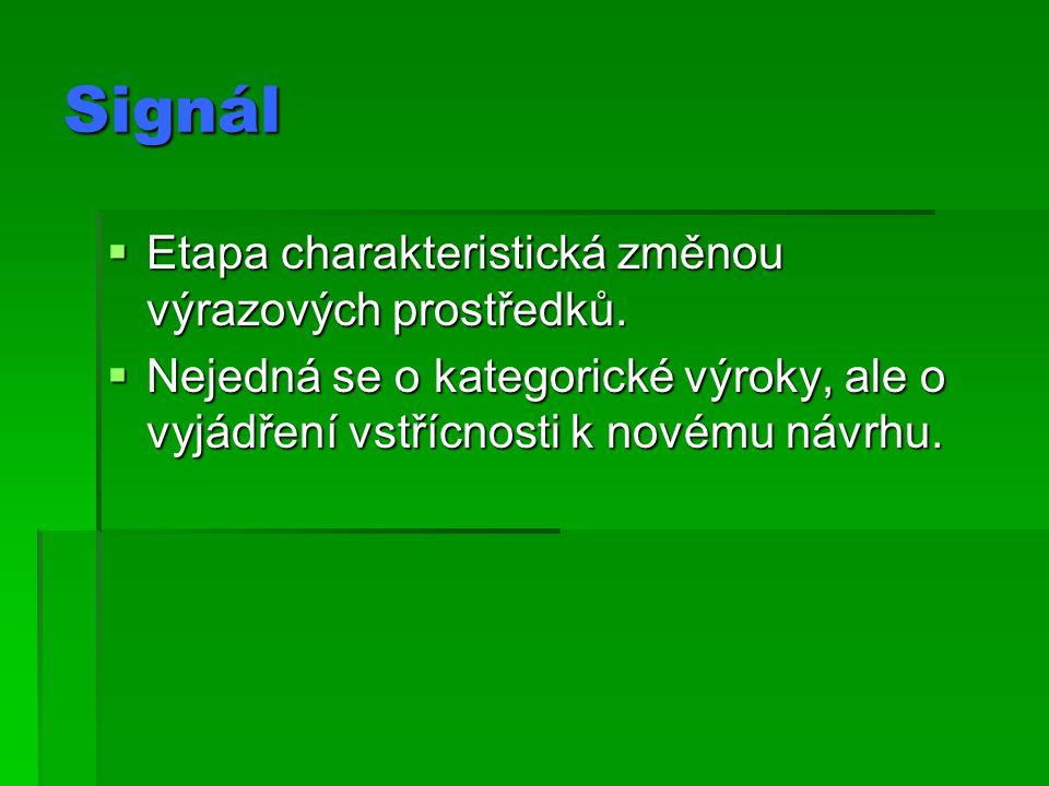 Signál Etapa charakteristická změnou výrazových prostředků.