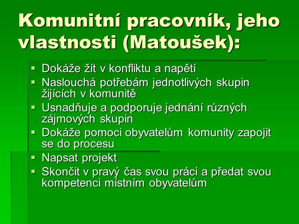 Komunitní pracovník, jeho vlastnosti (Matoušek):