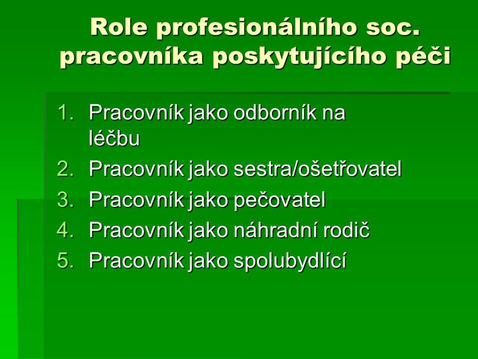 Role profesionálního soc. pracovníka poskytujícího péči