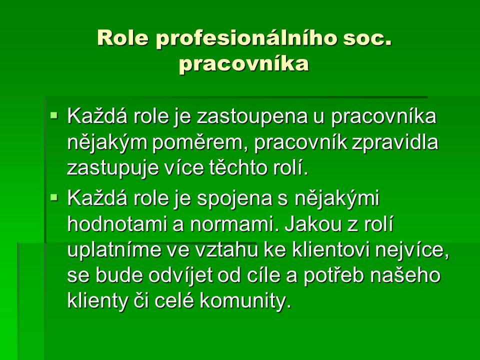 Role profesionálního soc. pracovníka