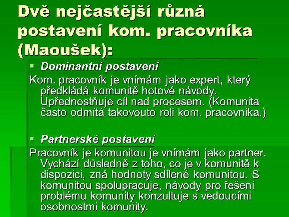 Dvě nejčastější různá postavení kom. pracovníka (Maoušek):