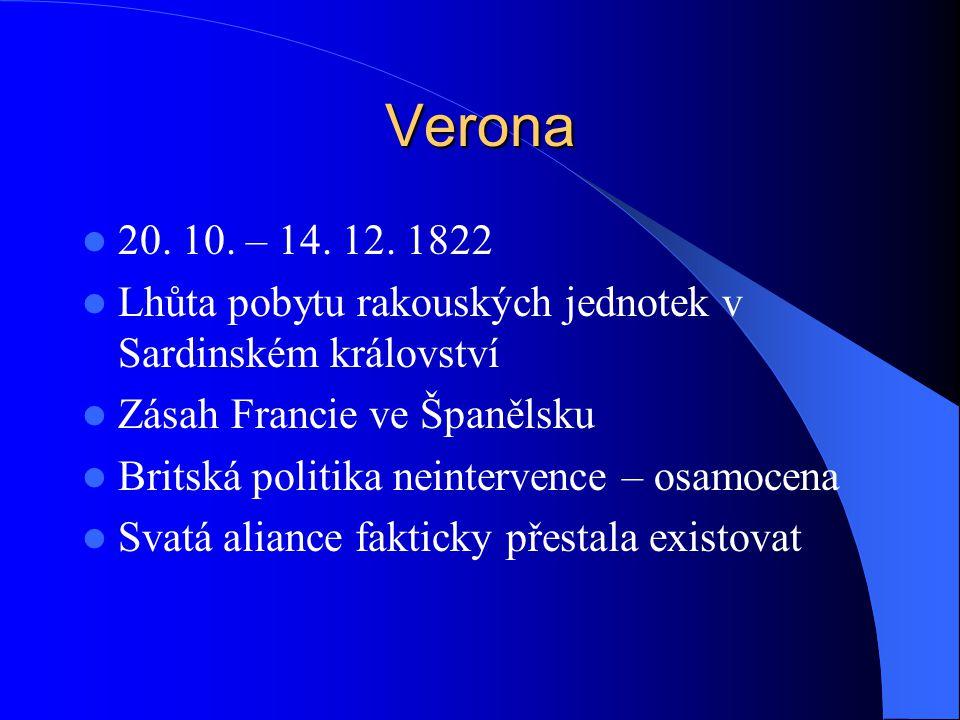 Verona 20. 10. – 14. 12. 1822. Lhůta pobytu rakouských jednotek v Sardinském království. Zásah Francie ve Španělsku.