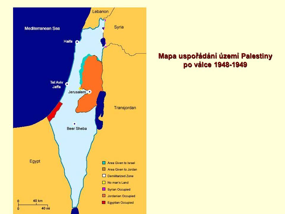 Mapa uspořádání území Palestiny