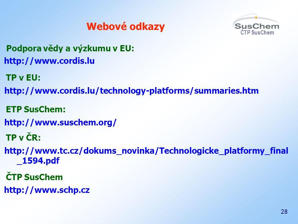 Webové odkazy Podpora vědy a výzkumu v EU: http://www.cordis.lu