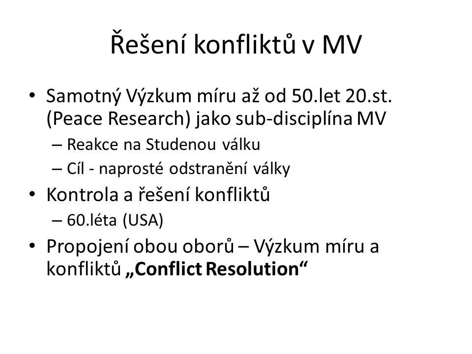 Řešení konfliktů v MV Samotný Výzkum míru až od 50.let 20.st. (Peace Research) jako sub-disciplína MV.