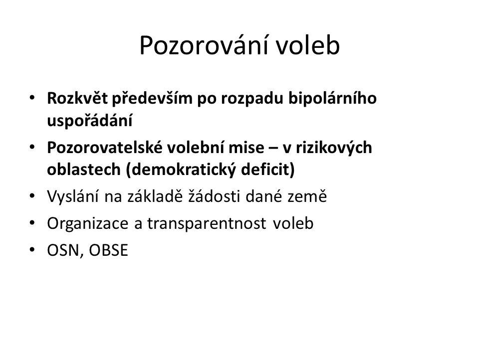 Pozorování voleb Rozkvět především po rozpadu bipolárního uspořádání