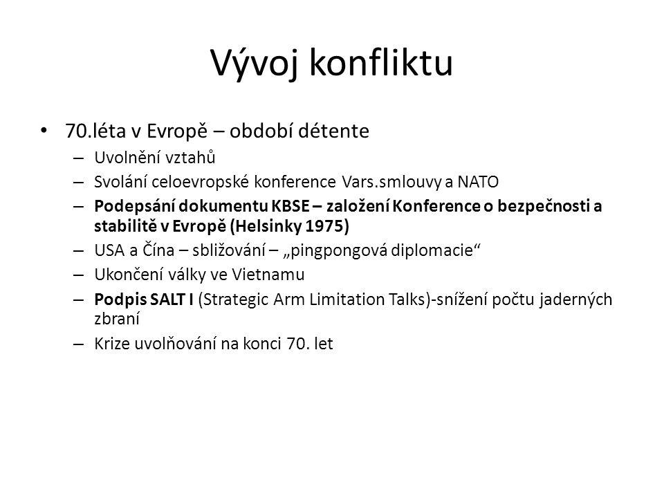 Vývoj konfliktu 70.léta v Evropě – období détente Uvolnění vztahů