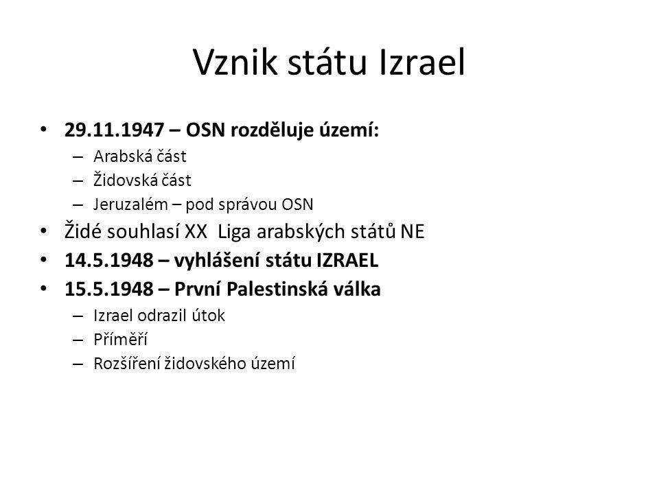 Vznik státu Izrael 29.11.1947 – OSN rozděluje území: