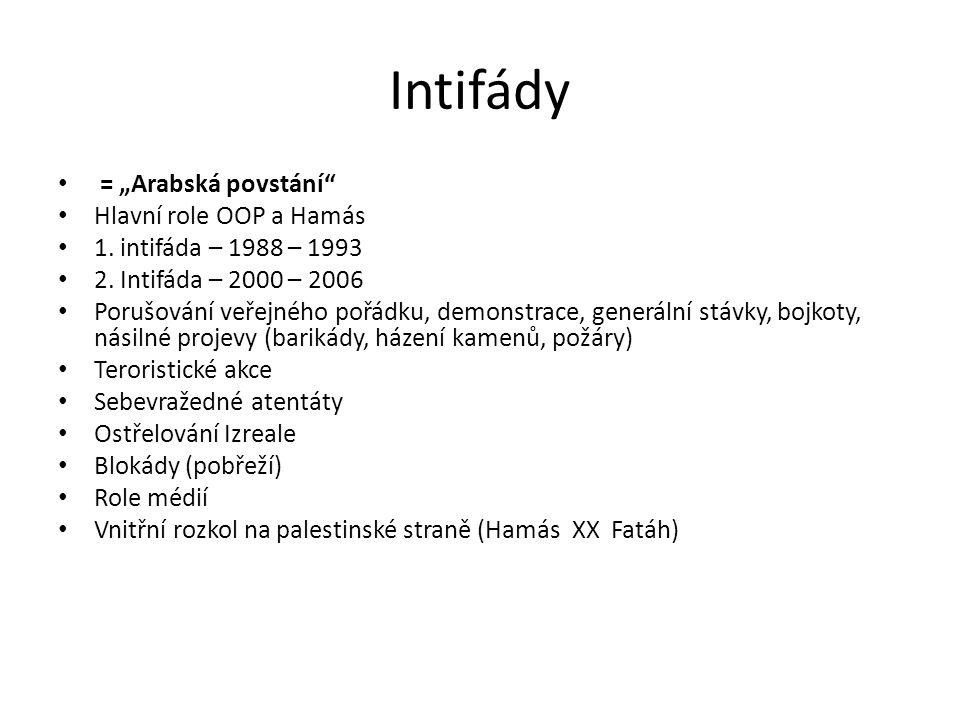"""Intifády = """"Arabská povstání Hlavní role OOP a Hamás"""