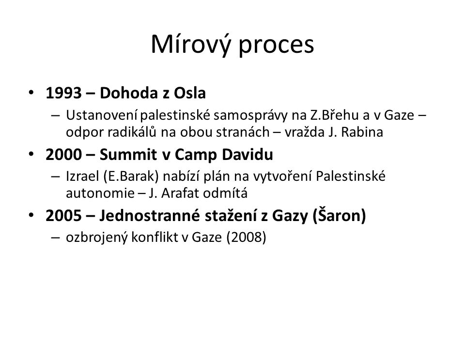 Mírový proces 1993 – Dohoda z Osla 2000 – Summit v Camp Davidu