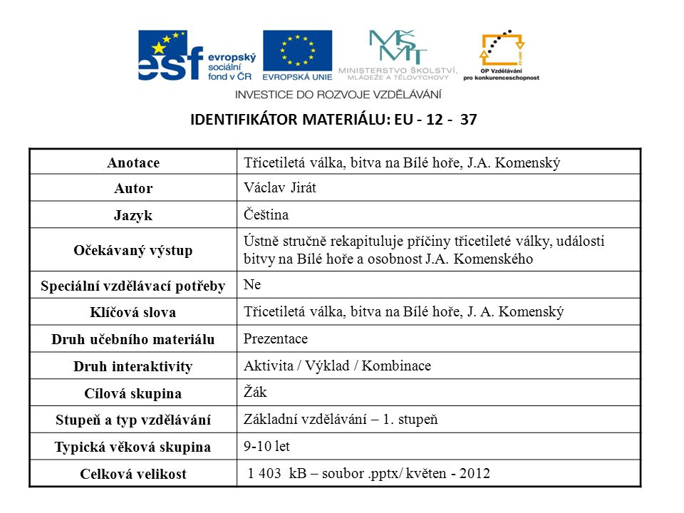 Identifikátor materiálu: EU - 12 - 37