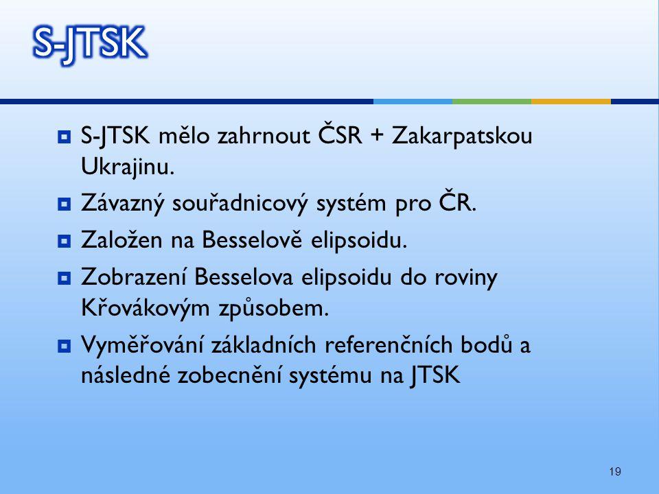 S-JTSK S-JTSK mělo zahrnout ČSR + Zakarpatskou Ukrajinu.
