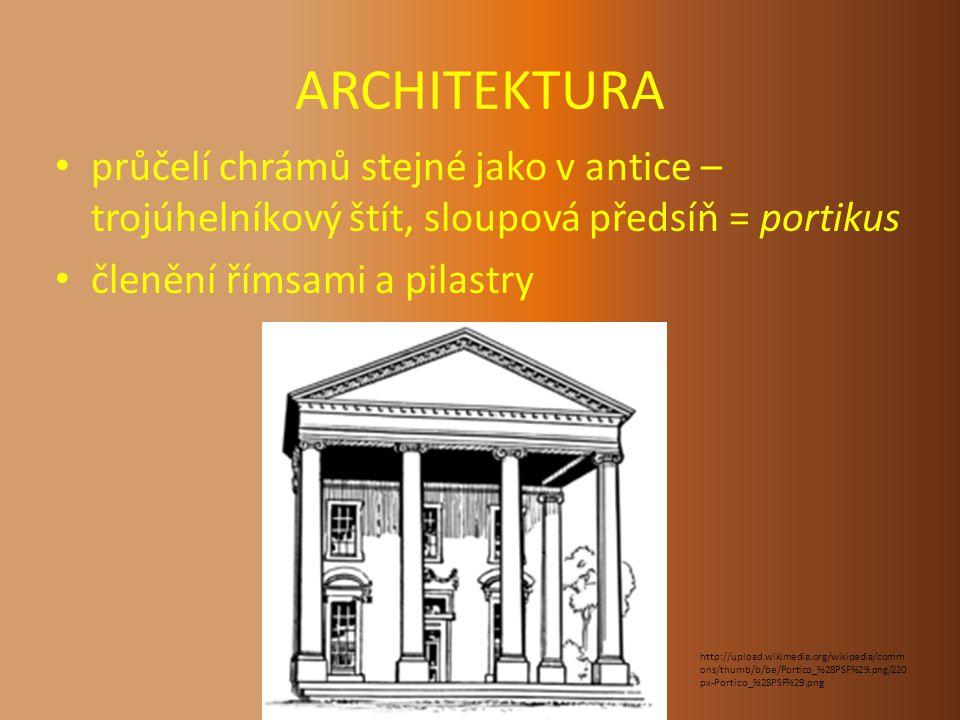ARCHITEKTURA průčelí chrámů stejné jako v antice – trojúhelníkový štít, sloupová předsíň = portikus.