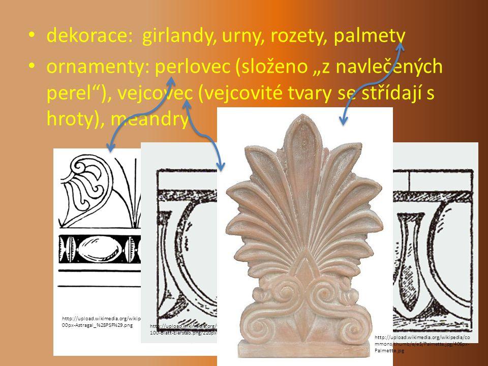 dekorace: girlandy, urny, rozety, palmety