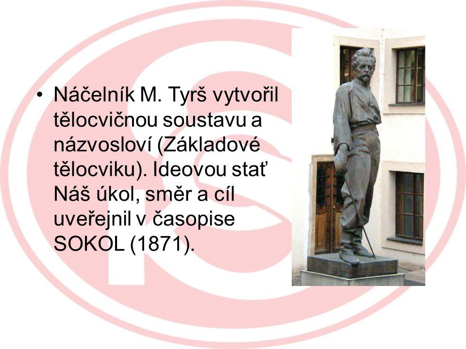 Náčelník M. Tyrš vytvořil tělocvičnou soustavu a názvosloví (Základové tělocviku).