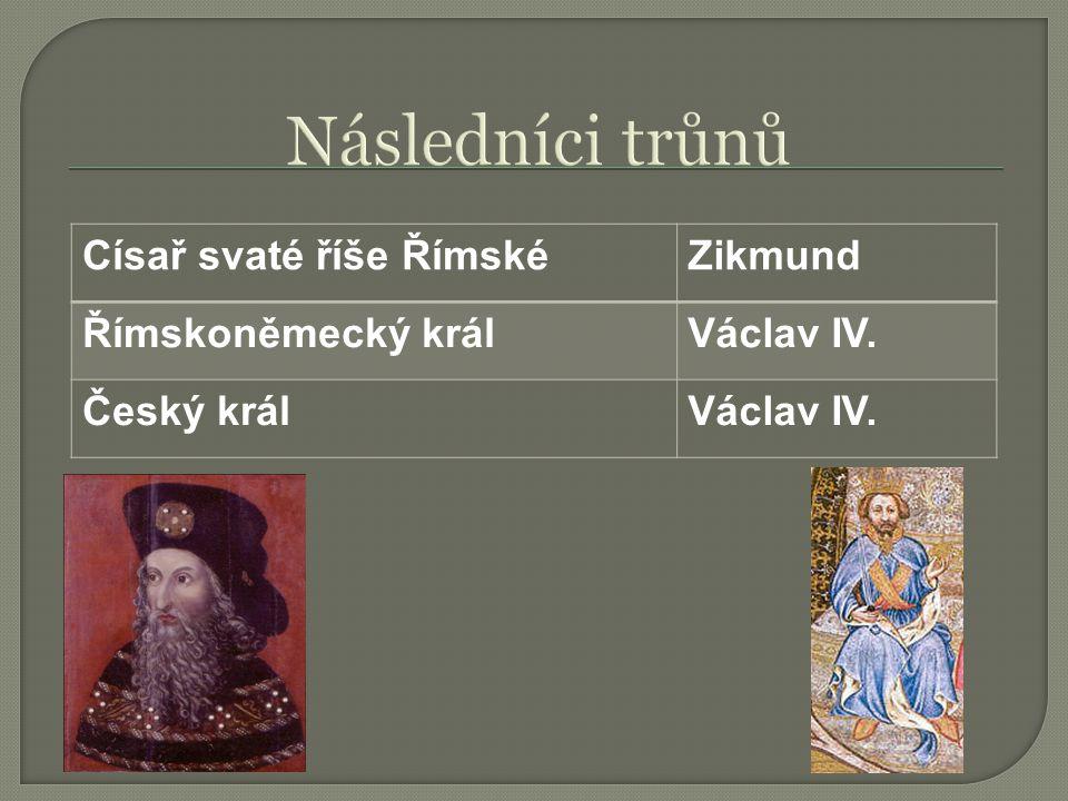 Následníci trůnů Císař svaté říše Římské Zikmund Římskoněmecký král