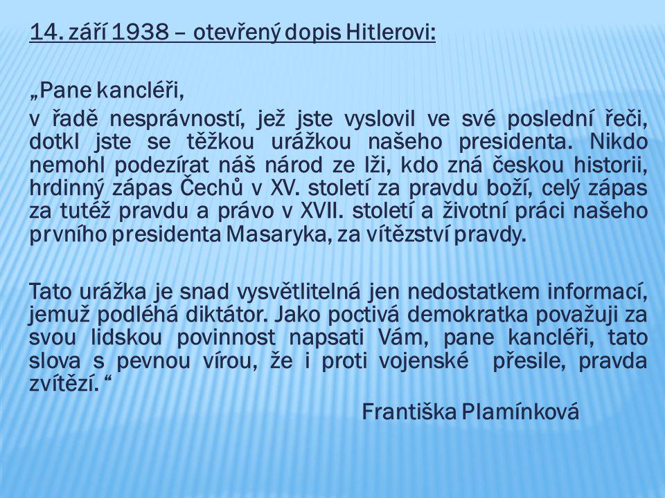 14. září 1938 – otevřený dopis Hitlerovi: