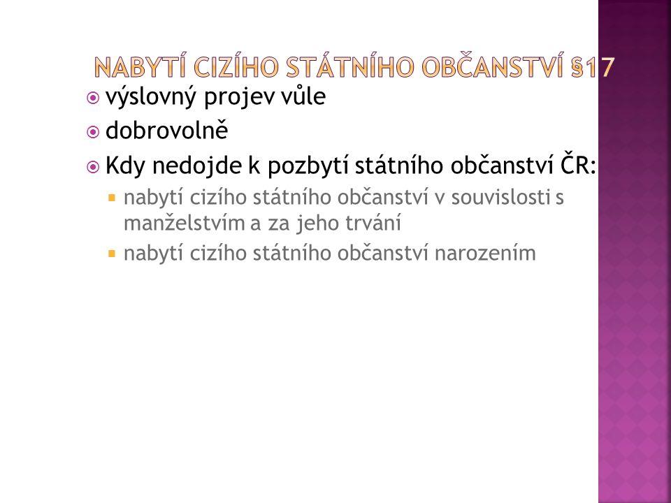 Nabytí cizího státního občanství §17