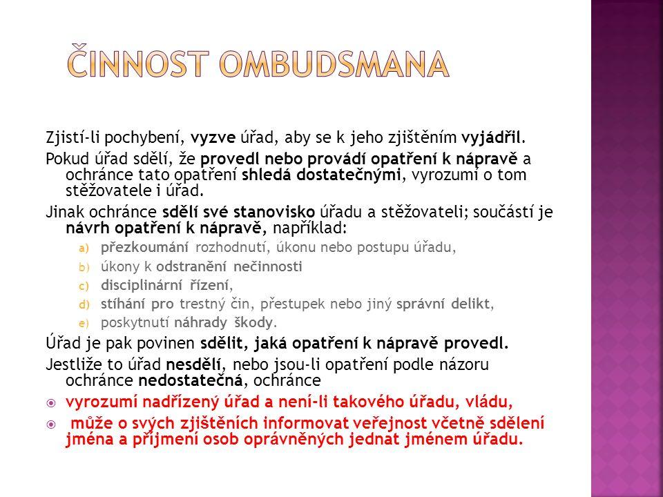 Činnost ombudsmana Zjistí-li pochybení, vyzve úřad, aby se k jeho zjištěním vyjádřil.