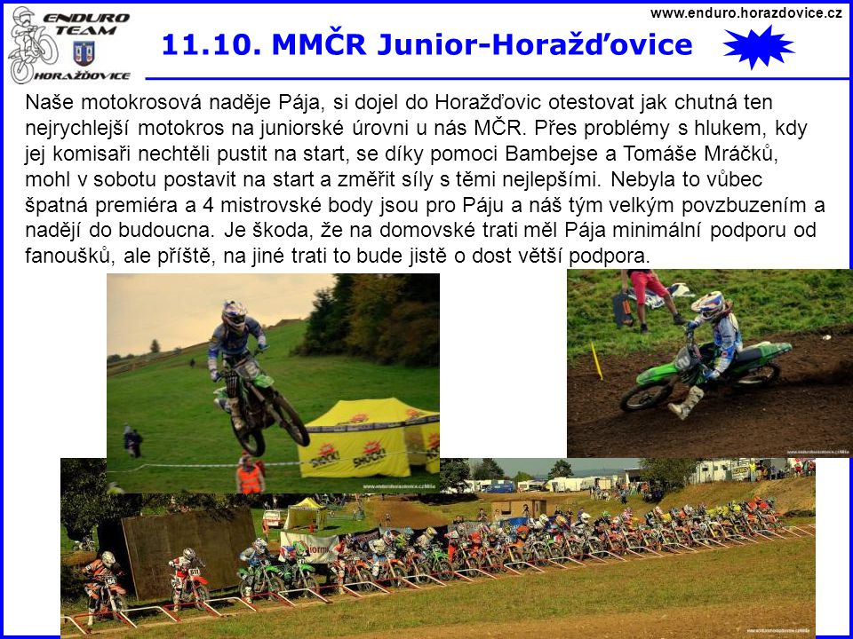 11.10. MMČR Junior-Horažďovice