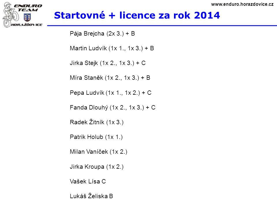 Startovné + licence za rok 2014