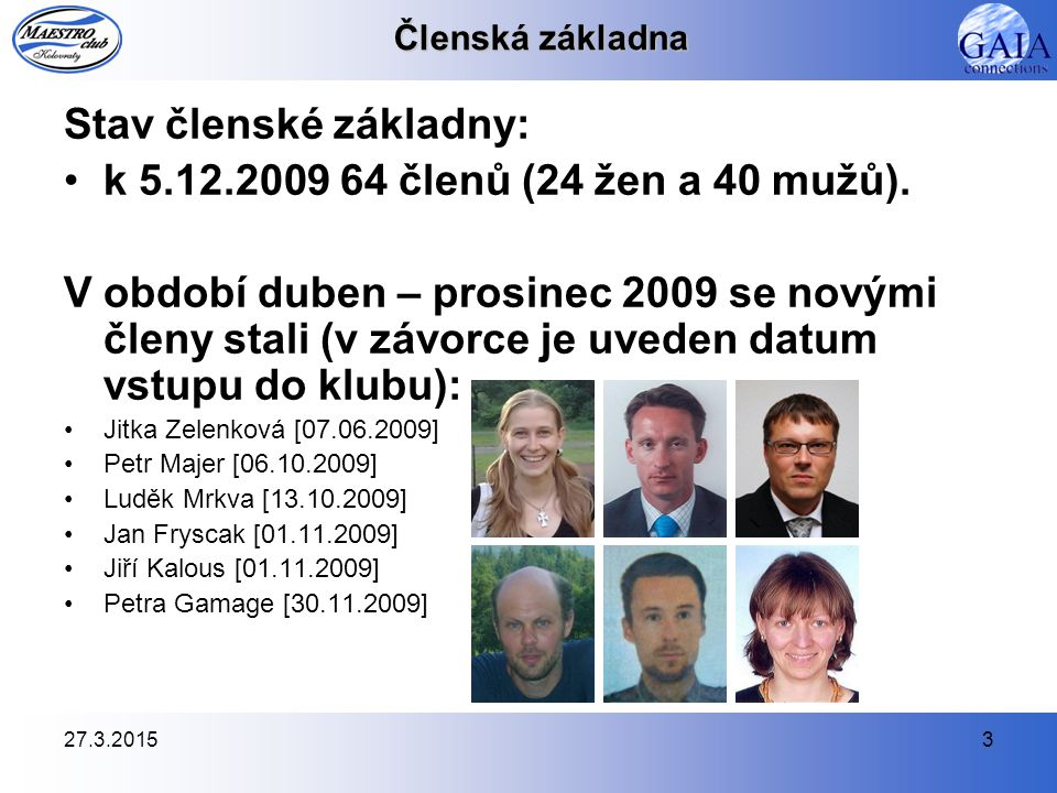 Stav členské základny: k 5.12.2009 64 členů (24 žen a 40 mužů).