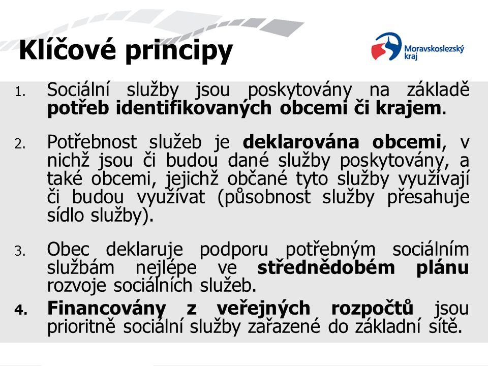 Klíčové principy Sociální služby jsou poskytovány na základě potřeb identifikovaných obcemi či krajem.