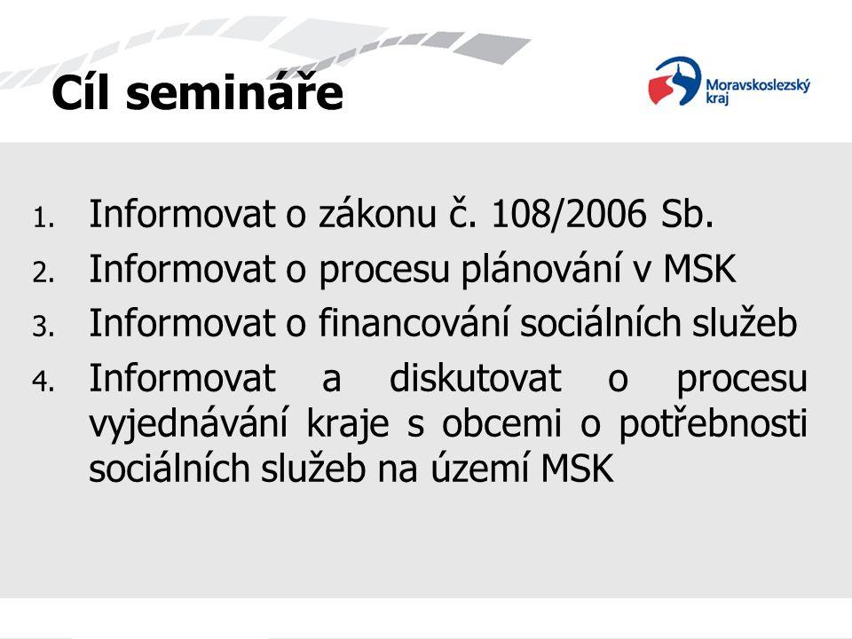 Cíl semináře Informovat o zákonu č. 108/2006 Sb.