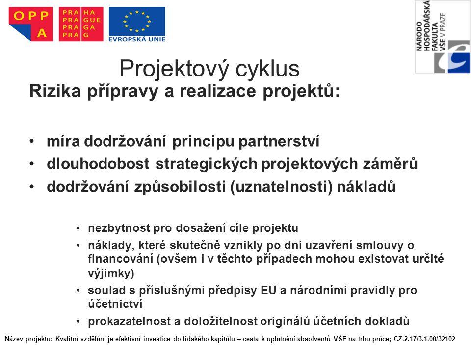 Projektový cyklus Rizika přípravy a realizace projektů: