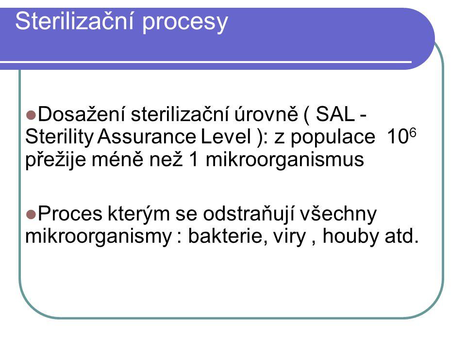 Sterilizační procesy Dosažení sterilizační úrovně ( SAL - Sterility Assurance Level ): z populace 106 přežije méně než 1 mikroorganismus.