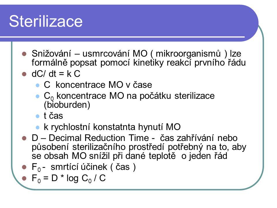 Sterilizace Snižování – usmrcování MO ( mikroorganismů ) lze formálně popsat pomocí kinetiky reakcí prvního řádu.
