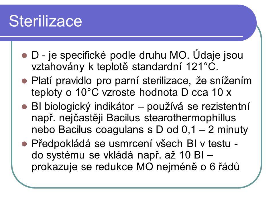 Sterilizace D - je specifické podle druhu MO. Údaje jsou vztahovány k teplotě standardní 121°C.