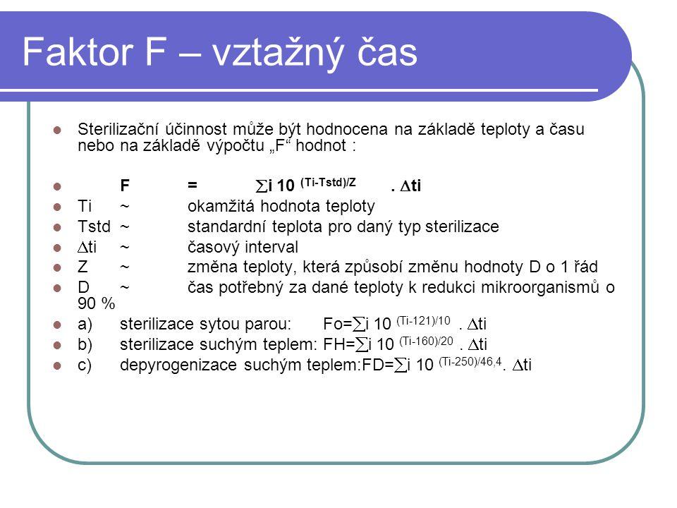 """Faktor F – vztažný čas Sterilizační účinnost může být hodnocena na základě teploty a času nebo na základě výpočtu """"F hodnot :"""