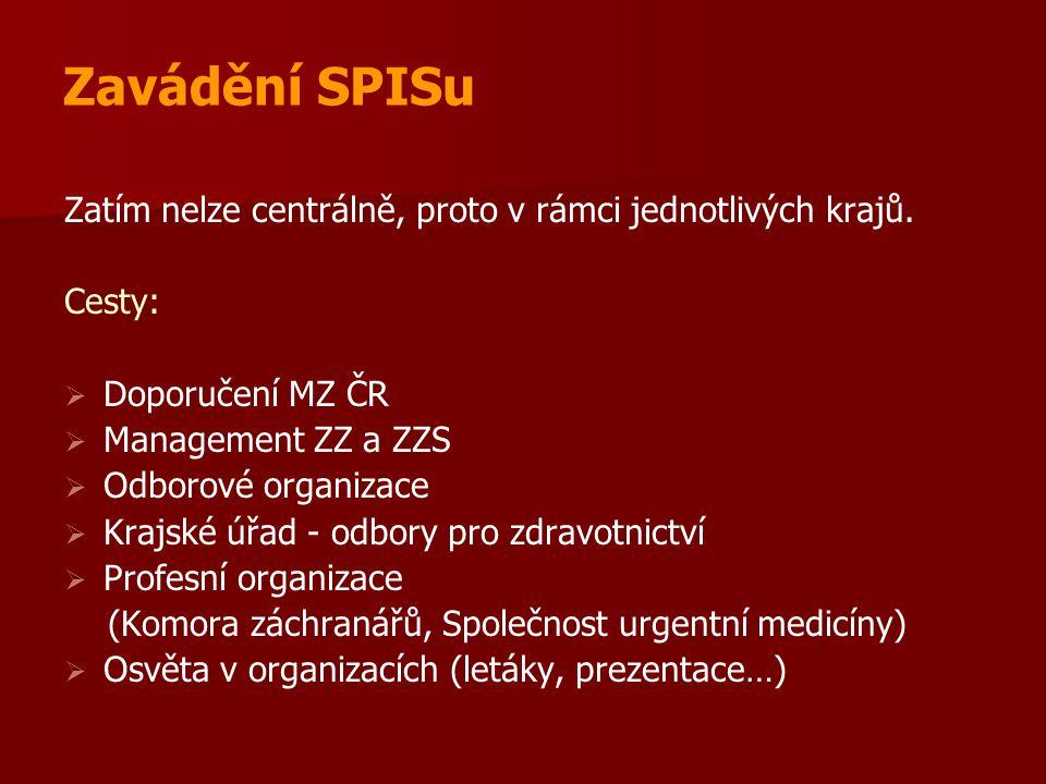 Zavádění SPISu Zatím nelze centrálně, proto v rámci jednotlivých krajů. Cesty: Doporučení MZ ČR. Management ZZ a ZZS.