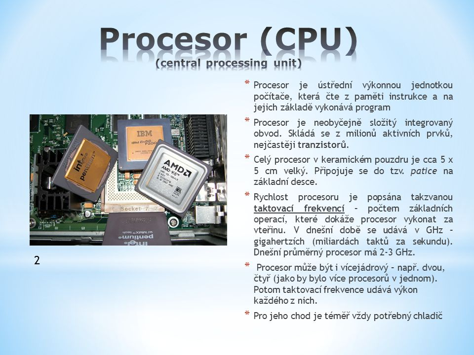 Procesor (CPU) (central processing unit)